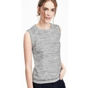 Banana Republic Grey Tweed Boucle Shell Top
